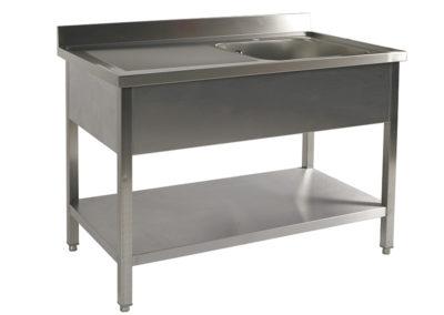 Table inox avec bac de lavage